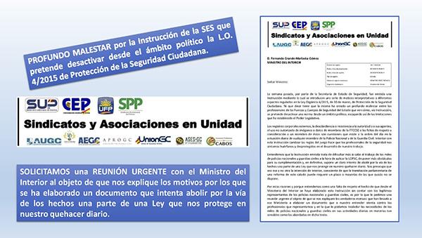 CARTA DE ASOCIACIONES Y SINDICATOS AL MINISTRO DEL INTERIOR