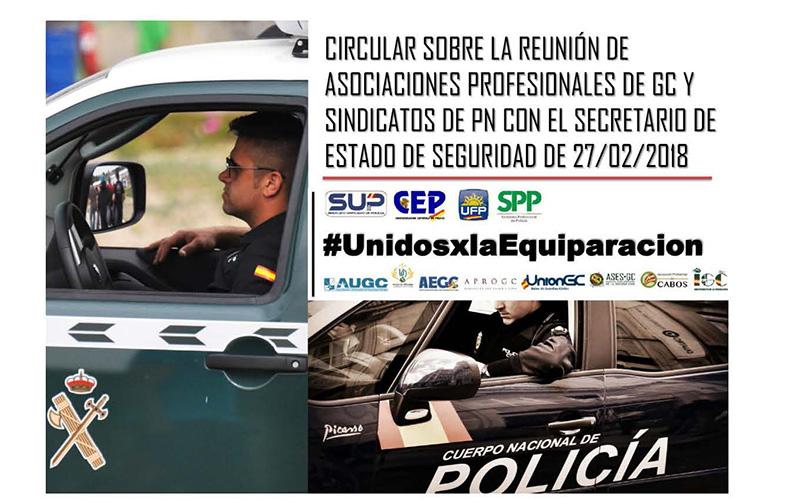REUNIÓN DE ASOCIACIONES PROFESIONALES GUARDIA CIVIL Y SINDICATOS POLICÍA CON EL SECRETARIO DE ESTADO DE SEGURIDAD