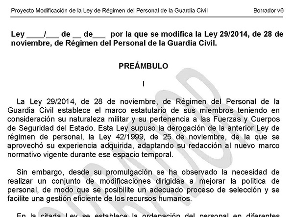 "MODIFICACIÃ""N LEY DE PERSONAL DE LA GUARDIA CIVIL"